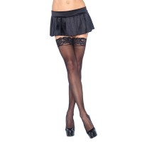 Leg Avenue Sheer Hold Ups with Lace Tops Black