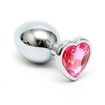 Small Metal Butt Plug With Heart Shaped Crystal