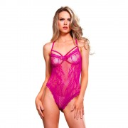 Leg Avenue Pink Strappy Thong Teddy Cerise UK 8 to 14