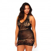Leg Avenue Floral Lace Opaque Mini Dress UK 18-22