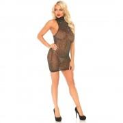 Leg Avenue Lurex Spandex Mini Dress Gold UK 8 to 14