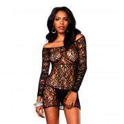 Leg Avenue Web Net Long Sleeve Mini Dress UK 8 to 14