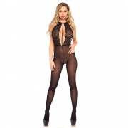 Leg Avenue Halter Keyhole Bodystocking UK 8 to 14