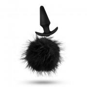 Pom Plugs Black Fur Pom Pom Butt Plug