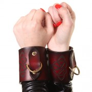 House of Eros Dark Red Celtic Cuffs