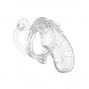 Man Cage 10  Male 3.5 Inch Clear Chastity Cage With Anal Plug