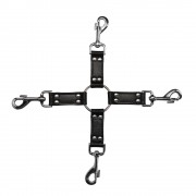 4-Way Black Leather Hogtie Cross