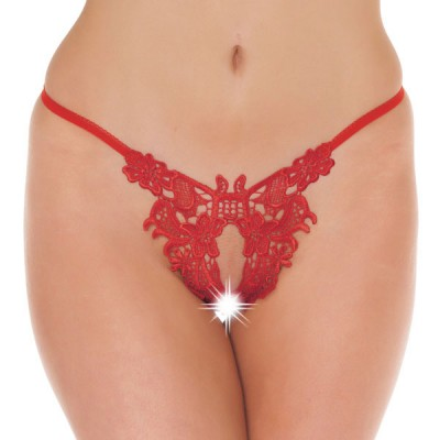Fancy Red Detailed Open G-String