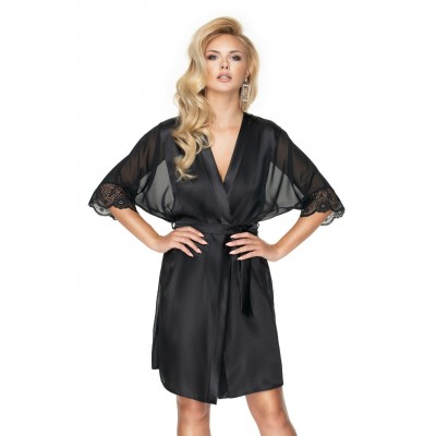 Irall Black Satin Dressing Gown